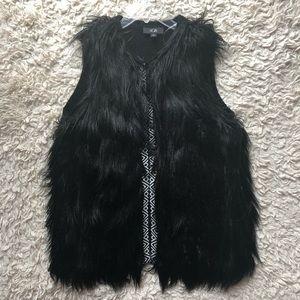 AGB Faux Fur Vest Black & White Front Trim